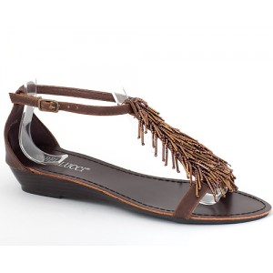 Sandalette Keilabsatz Braun